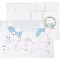 Kerst kalender, afm 30x42 cm, wit, 3 stuk/ 1 doos