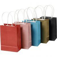 Papieren zakken, H: 17 cm, B: 12x7 cm, 125 gr, diverse kleuren, 5x2 stuk/ 1 doos