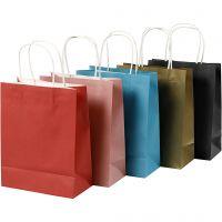 Papieren zakken, H: 23 cm, B: 18x9 cm, 125 gr, diverse kleuren, 10 stuk/ 1 doos