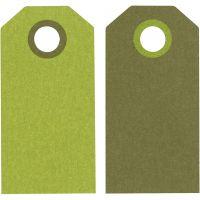 Cadeaulabels, afm 6x3 cm, 250 gr, lime green/donkergroen, 20 stuk/ 1 doos