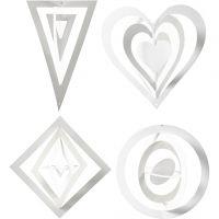 3D Ornamenten, H: 18+22+24 cm, B: 15+18+22 cm, 230 gr, wit, 16 stuk/ 1 doos