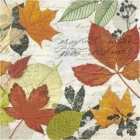 Servetten, herfstbladeren, afm 33x33 cm, 20 stuk/ 1 doos