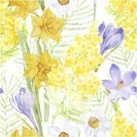 Servetten, lente bloemen, afm 33x33 cm, 20 stuk/ 1 doos