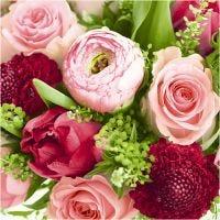 Servetten, Overvloed aan bloemen, afm 33x33 cm, diverse kleuren, 20 stuk/ 1 doos