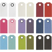 Labels, afm 6x3 cm, 250 gr, diverse kleuren, 30 doos/ 1 doos