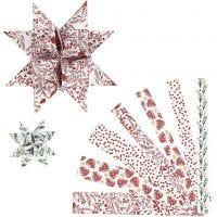Papieren vlechtstroken, L: 44+78 cm, B: 15+25 mm, d: 6,5+11,5 cm, rood, wit, 48 stroken/ 1 doos