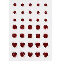 Strasstenen, rond, vierkant, hart, afm 6+8+10 mm, rood, 35 stuk/ 1 doos