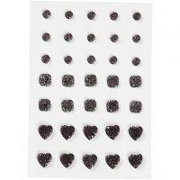 Strasstenen, rond, vierkant, hart, afm 6+8+10 mm, zwart, 35 stuk/ 1 doos