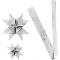 Papieren vlechtstroken, L: 44+78 cm, d: 6,5+11,5 cm, B: 15+25 mm, zilver, 32 stroken/ 1 doos