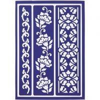 Flexibel sjabloon, bloemenranden, 21x14,8 cm, 1 stuk