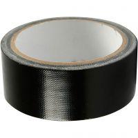 Canvas tape, B: 38 mm, zwart, 25 m/ 1 rol