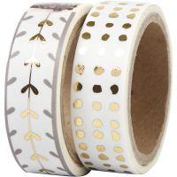 Masking Tape, harten en stippen - folie, B: 15 mm, goud, wit, 2x4 m/ 1 doos