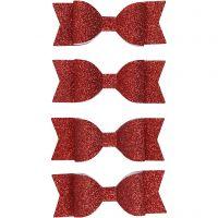 Strikken, afm 31x85 mm, rood glitter, 4 stuk/ 1 doos