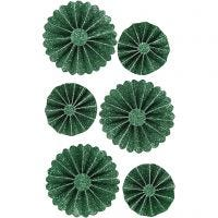 Rosettes, d: 35+50 mm, groen glitter, 6 stuk/ 1 doos