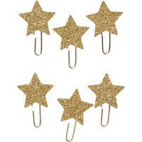 Paperclips, ster, d: 30 mm, goud glitter, 6 stuk/ 1 doos