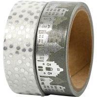 Masking Tape, huizen en stippen - folie, B: 15 mm, zilver, 2x4 m/ 1 doos