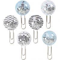 Shaker clips, L: 49 mm, d: 25 mm, zwart, blauw, grijs, wit, 6 stuk/ 1 doos