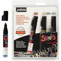 Skrib Marker , lijndikte 4 mm, zwart, blauw, rood, geel, 4 stuk/ 1 doos