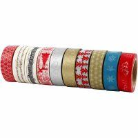 Masking Tape, Kerstmis, B: 15 mm, 10x10 m/ 1 doos
