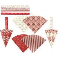 Gevlochten kegels, H: 19,3 cm, B: 9,2 cm, rood, wit, 8 set/ 1 doos