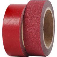 Masking tape, B: 15 mm, rood, 2 rol/ 1 doos