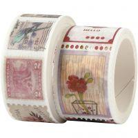 Masking tape, stempel- en bloemmotieven, L: 3+5 m, B: 20+25 mm, 2 rol/ 1 doos