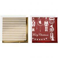 Deco folie en transfer vel, notenkraker, kerstman en ballerina, 15x15 cm, goud, rood, wit, 4 vel/ 1 doos