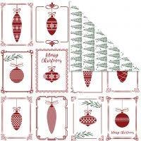 Design papier, kerstballen en kerstbomen, 30,5x30,5 cm, 180 gr, 5 vel/ 1 doos