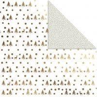 Design papier, herten en stippen, 30,5x30,5 cm, 180 gr, goud, 3 vel/ 1 doos