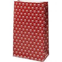 Papieren zakken, trommel, H: 21 cm, afm 6x12 cm, 80 gr, rood, wit, 8 stuk/ 1 doos