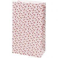 Papieren zakken, trompet, H: 21 cm, afm 6x12 cm, 80 gr, rood, wit, 8 stuk/ 1 doos