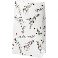 Papieren zakken, tak met kerstballen, H: 21 cm, afm 6x12 cm, groen, rood metallic, wit, 8 stuk/ 1 doos