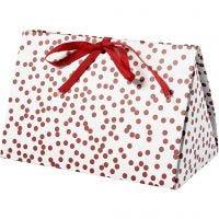 Cadeaudoos, stippen, afm 15x7x8 cm, 250 gr, rood, 3 stuk/ 1 doos
