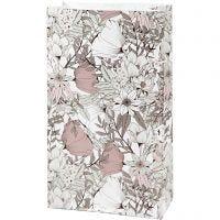 Papieren zakken, H: 21 cm, afm 6x12 cm, 80 gr, beige, bruin, roze, wit, 8 stuk/ 1 doos