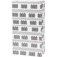 Papieren zakken, H: 21 cm, afm 6x12 cm, 80 gr, zwart, wit, 8 stuk/ 1 doos