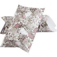 Cadeaudoosje, bloemen, afm 23,9x15x6 cm, 300 gr, beige, bruin, roze, wit, 3 stuk/ 1 doos