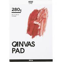 Canvas blok, A4, 280 gr, wit, 10 vel/ 1 stuk