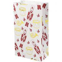 Papieren zakken, notenkraker, H: 21 cm, afm 6x12 cm, goud, rood, wit, 8 stuk/ 1 doos
