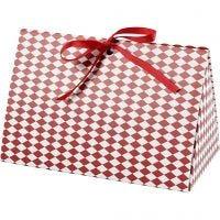 Cadeaudoos, harlekijn patroon, afm 15x7x8 cm, 250 gr, rood, wit, 3 stuk/ 1 doos