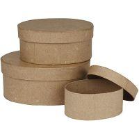 Ovale dozen, H: 5+6,5+8 cm, L: 11,5+15+18 cm, 3 stuk/ 1 set