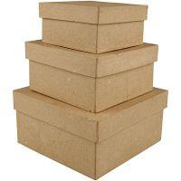 Vierkante dozen, H: 5+6+7,5 cm, afm 10+12,5+15 cm, 3 stuk/ 1 set