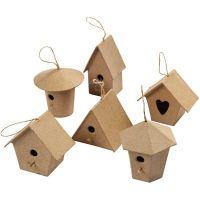 Mini vogelhuisjes, H: 7 cm, 6 stuk/ 1 doos