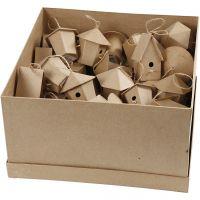 Mini vogelhuisjes, H: 7 cm, 6x10 stuk/ 1 doos