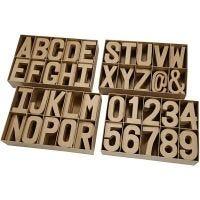 Letters & Cijfers van papier-maché, H: 20,50 cm, dikte 2,5 cm, 160 stuk/ 1 doos
