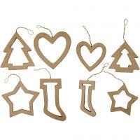 Kerst ornamenten, H: 9+12 cm, 24 stuk/ 1 doos