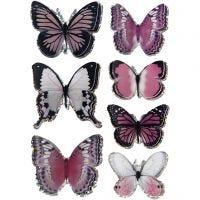 3D stickers, vlinders, afm 28-45 mm, paars, 7 stuk/ 1 doos