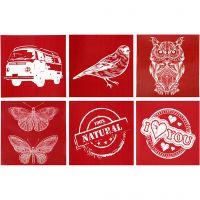 Screen stencils, 6 designs, 20x22 cm, 6 div vellen/ 1 doos