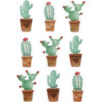 3D stickers, cactussen, H: 45 mm, B: 15-26 mm, 9 stuk/ 1 doos