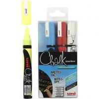 Chalk Marker, lijndikte 1,8-2,5 mm, blauw, rood, wit, geel, 4 stuk/ 1 doos