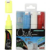 Chalk Marker, lijndikte 8 mm, diverse kleuren, 4 stuk/ 1 doos